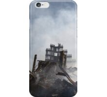 A New York City fireman calls for 10 more rescue workers to make their way into the rubble of the World Trade Center in New York city.  by U.S. Navy iPhone Case/Skin
