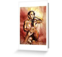 Seated Female Nude in Browns (Drawing)- Greeting Card