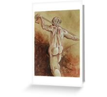 Standing Male Nude (Drawing)- Greeting Card