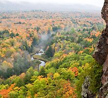 Foggy Autumn Morning at Porcupine Mountains Carp River Valley by Craig Sterken