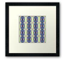 mint and blue wavy stripes Framed Print