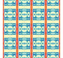 blue and cream blocks with red stripes Photographic Print