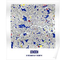 London Piet Mondrian Style City Street Map Art Poster