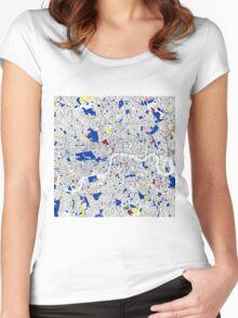 London Piet Mondrian Style City Street Map Art Women's Fitted Scoop T-Shirt