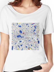London Piet Mondrian Style City Street Map Art Women's Relaxed Fit T-Shirt