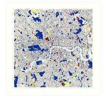 London Piet Mondrian Style City Street Map Art Art Print