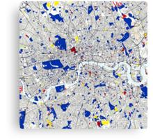 London Piet Mondrian Style City Street Map Art Canvas Print