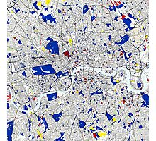 London Piet Mondrian Style City Street Map Art Photographic Print