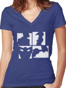 Cowboy Bebop Silhouettes (2nd color). Women's Fitted V-Neck T-Shirt