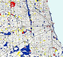 Map of Chicagoland in the style of Piet Mondrian by Adam Asar