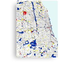 Map of Chicagoland in the style of Piet Mondrian Canvas Print