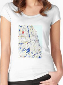 Map of Chicagoland in the style of Piet Mondrian Women's Fitted Scoop T-Shirt