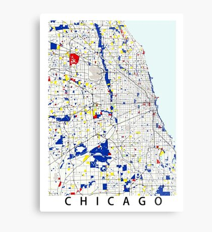 Map of Chicagoland in the style of Piet Mondrian Metal Print