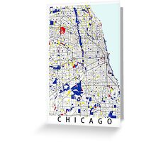 Map of Chicagoland in the style of Piet Mondrian Greeting Card