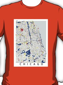 Map of Chicagoland in the style of Piet Mondrian T-Shirt