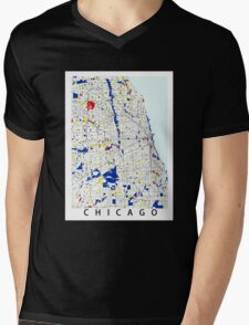 Map of Chicagoland in the style of Piet Mondrian Mens V-Neck T-Shirt