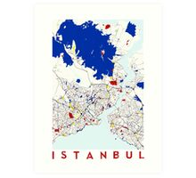 Map of Istanbul in the style of Piet Mondrian Art Print