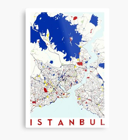 Map of Istanbul in the style of Piet Mondrian Metal Print