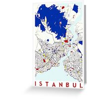 Map of Istanbul in the style of Piet Mondrian Greeting Card