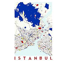 Map of Istanbul in the style of Piet Mondrian Photographic Print