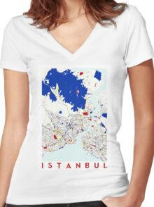 Map of Istanbul in the style of Piet Mondrian Women's Fitted V-Neck T-Shirt