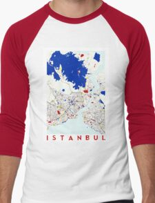 Map of Istanbul in the style of Piet Mondrian Men's Baseball ¾ T-Shirt