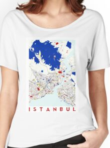 Map of Istanbul in the style of Piet Mondrian Women's Relaxed Fit T-Shirt