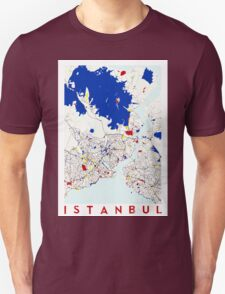 Map of Istanbul in the style of Piet Mondrian T-Shirt