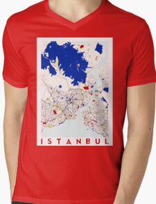 Map of Istanbul in the style of Piet Mondrian Mens V-Neck T-Shirt