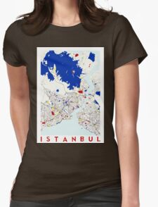 Map of Istanbul in the style of Piet Mondrian Womens Fitted T-Shirt