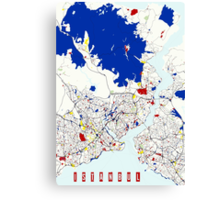 Map of Istanbul in the style of Piet Mondrian Canvas Print