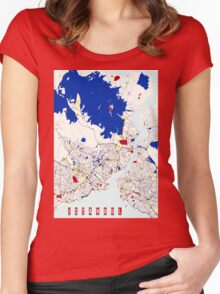 Map of Istanbul in the style of Piet Mondrian Women's Fitted Scoop T-Shirt