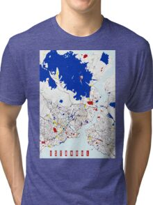 Map of Istanbul in the style of Piet Mondrian Tri-blend T-Shirt