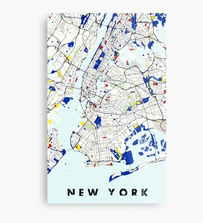 Map of New York in the style of Piet Mondrian Metal Print