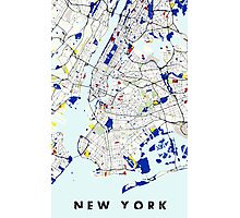 Map of New York in the style of Piet Mondrian Photographic Print