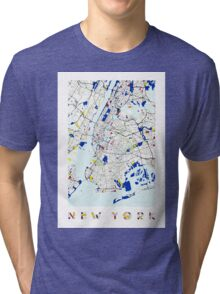 Map of New York in the style of Piet Mondrian Tri-blend T-Shirt