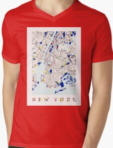 Map of New York in the style of Piet Mondrian Mens V-Neck T-Shirt