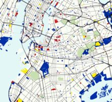 Map of New York in the style of Piet Mondrian Sticker