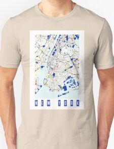 Map of New York in the style of Piet Mondrian Unisex T-Shirt