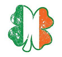 Four Leaf Clover with Irish Flag Photographic Print