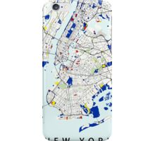 Map of New York in the style of Piet Mondrian iPhone Case/Skin