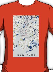 Map of New York in the style of Piet Mondrian T-Shirt