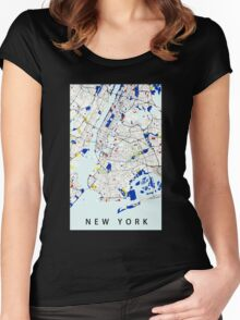 Map of New York in the style of Piet Mondrian Women's Fitted Scoop T-Shirt