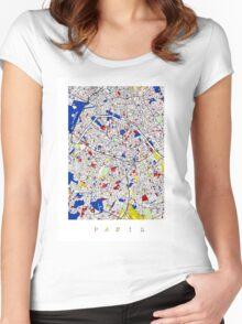 Paris - Mondrian Style Women's Fitted Scoop T-Shirt