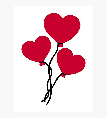 Red heart balloons Photographic Print