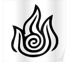 Firebending Black Poster