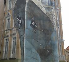 Boat Graffiti art illusion by karimdatraveler