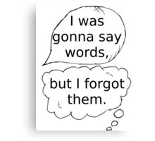 I was gonna say words Canvas Print