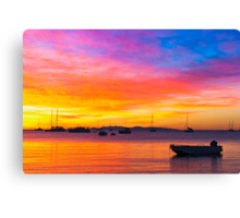 Amazing sunset on the ocean Canvas Print
