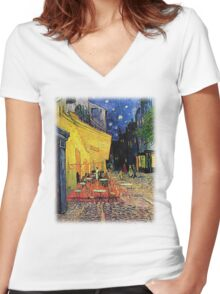 The Cafe Terrace on the Place du Forum, Arles, at Night,  Vincent van Gogh Women's Fitted V-Neck T-Shirt